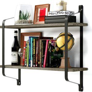 New Wall Mounted Industrial Wood Shelves